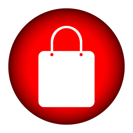 Shopping bag button on white background. Vector
