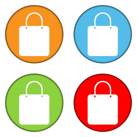 Shopping bag buttons set on white background. Vector