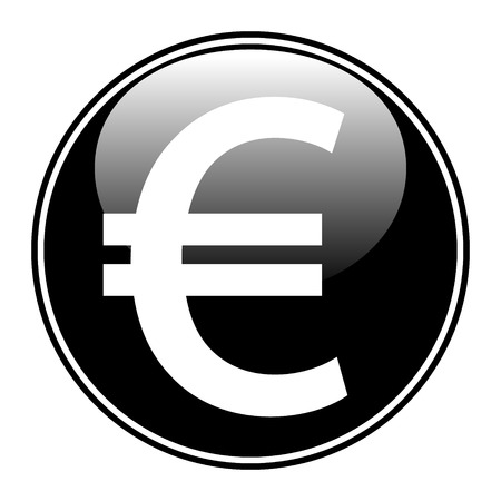 Euro button on white background. Vector