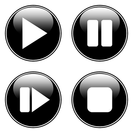 Play, pause, stop, forward buttons set on white background. Vector