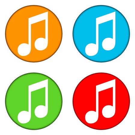 botones musica: Botones de la m�sica fijados en el fondo blanco.