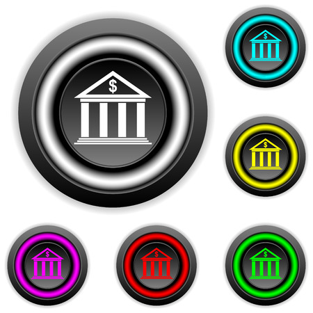 depository: Bank buttons set on white background.