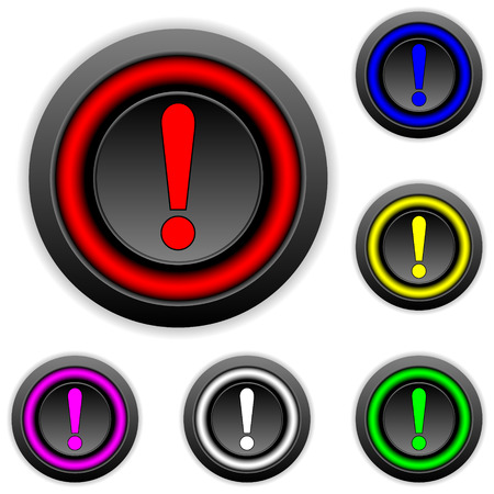 Exclamation mark buttons set on white. Vector
