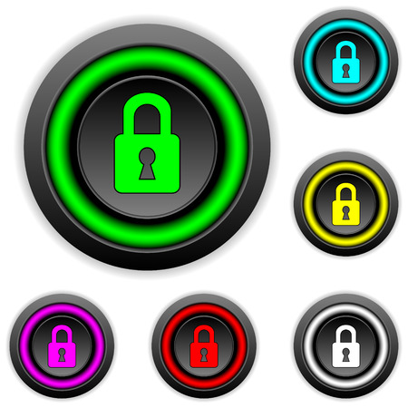coded: Lock buttons set on white background. Illustration