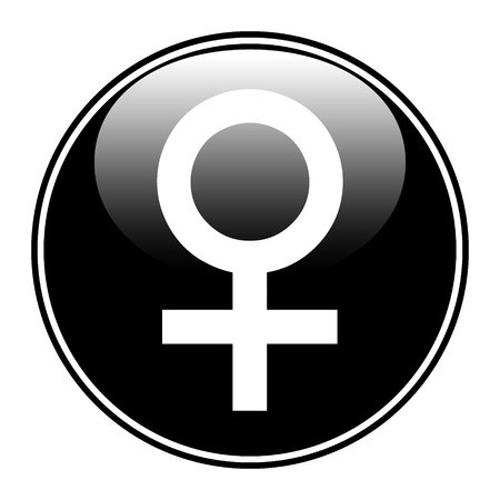 Gender female symbol button on white background. Vector