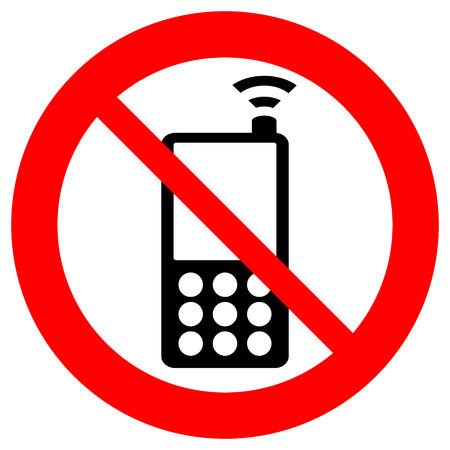 strikethrough: No phone vector sign on white background. Illustration