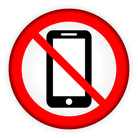 phone ban: No phone vector sign on white background. Illustration