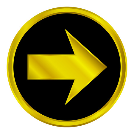 Vector golden arrow sign button on white background. Vector