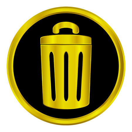 environmentalist: Gold garbage sign button on white background.