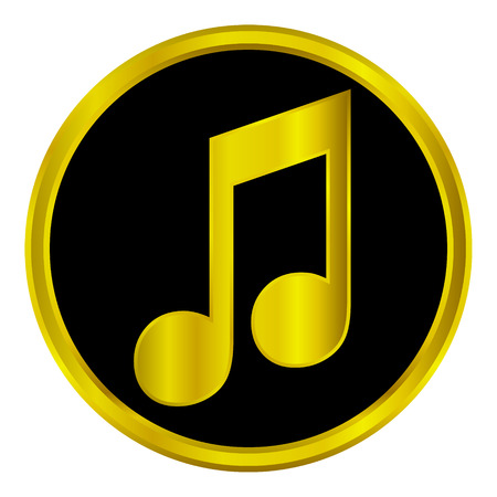 conservatory: Gold music sign button on white background. Illustration