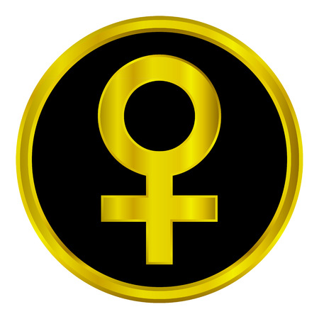 Gold gender female symbol button on white background. Vector