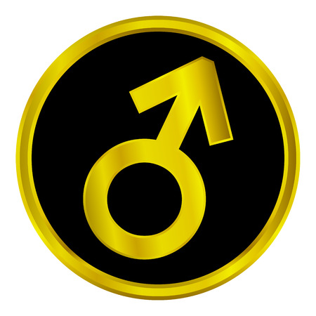 Gold gender male symbol button on white background. Vector
