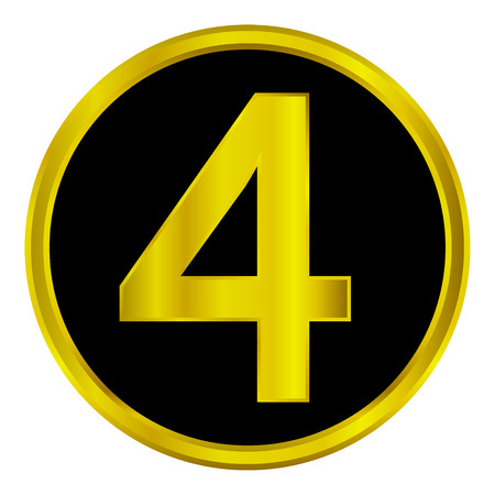 Gold number four button on white background. Vector