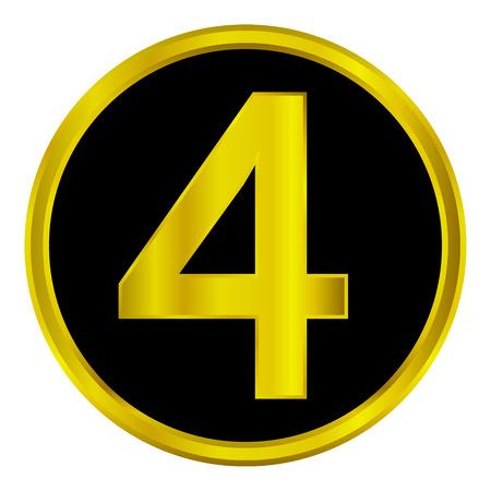 cijfer vier: Goud nummer vier knop op witte achtergrond. Stock Illustratie