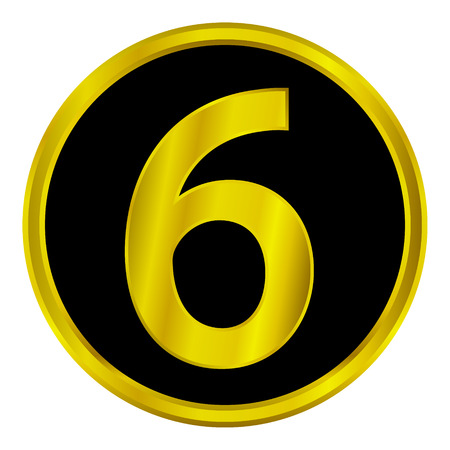Gold number six button on white background. Vector