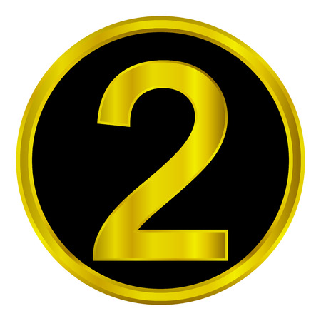 Gold number two button on white background. Vector