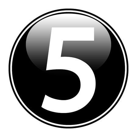 Black number five button on white background. Vector