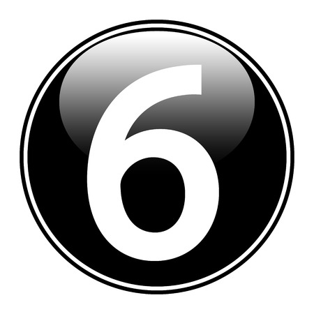 Black number six button on white background. Vector