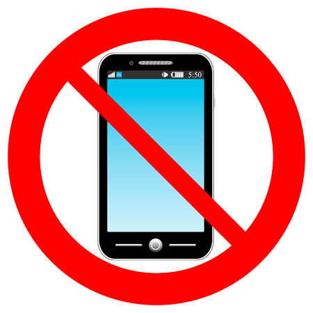 no cell phone sign: No phone vector sign on white background. Illustration
