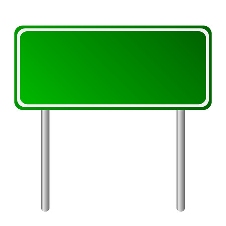 green road: Blank green road sign on white background.
