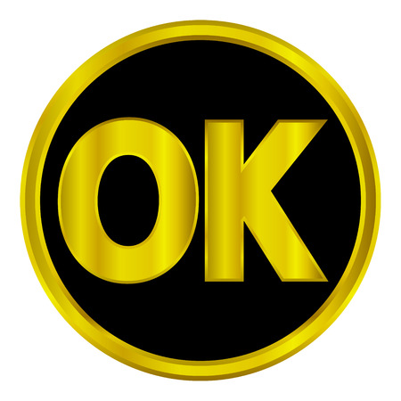 Gold ok button on white background