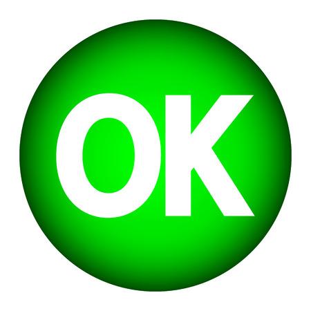 e survey: Green ok button on white background