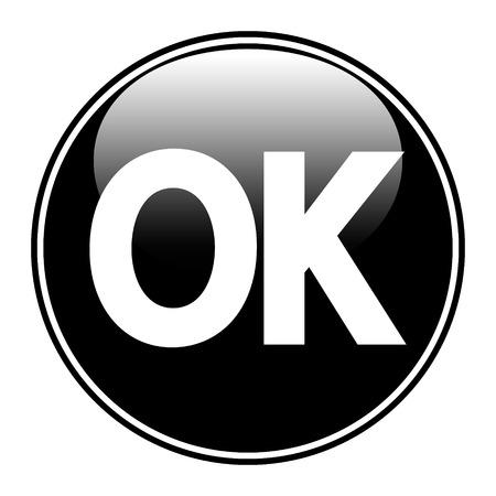 e survey: Black ok button on white background