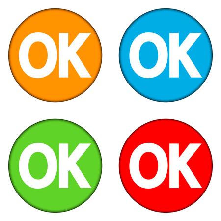 e survey: Ok buttons set isolated on white background