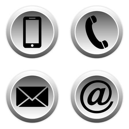 Contact knoppen instellen - e-mail, envelop, telefoon, mobiele pictogrammen.
