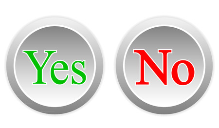 Yes and no buttons on white background. Vector