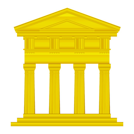 doric: Gold doric temple isolated on white background.