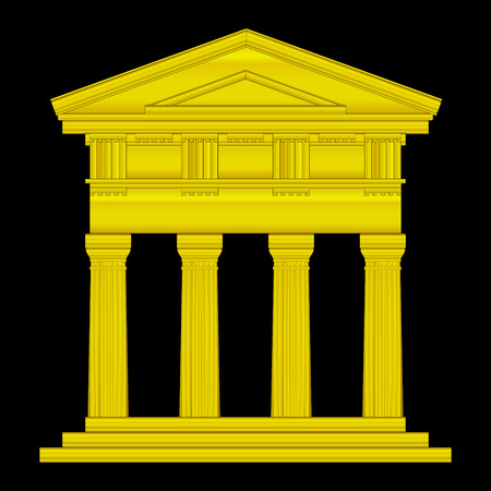 doric: Gold doric temple isolated on black background. Illustration