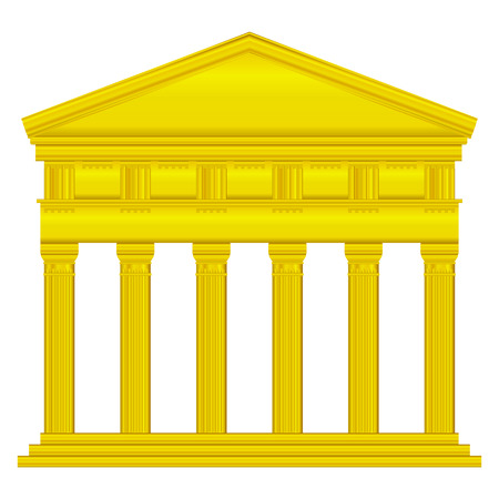 Gold doric temple isolated on white background. Stock Vector - 27273988