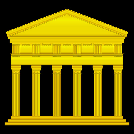 Gold doric temple isolated on black background. Stock Vector - 27273989