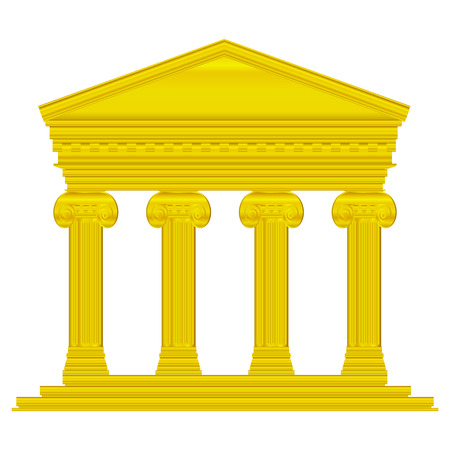 Gold ionic temple isolated on white background. Stock Vector - 27273990