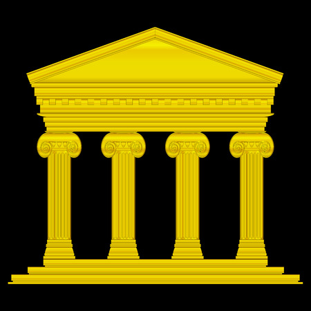 roman empire: Gold ionic temple isolated on black background.