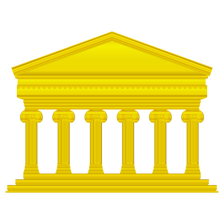 roman empire: Gold ionic temple isolated on white background.