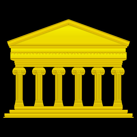 Gold ionic temple isolated on black background. Stock Vector - 27273993