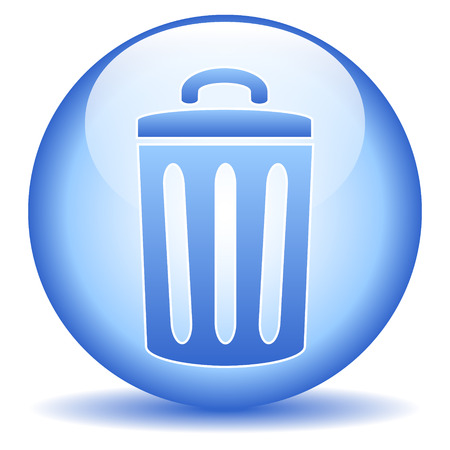 dispose: Garbage button on white background.