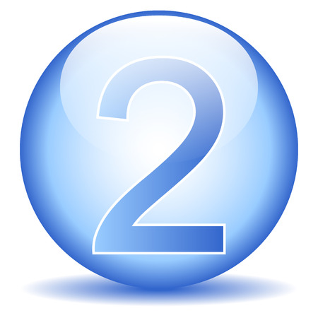 Number two button on white background. Vector