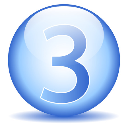 Number three button on white background. Vector