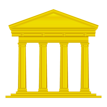 romanesque: Gold tuscan temple isolated on white background.