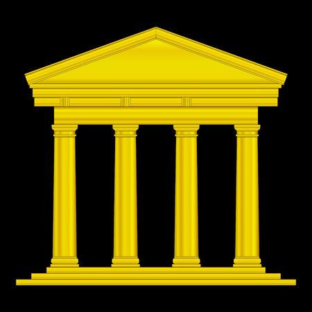 templo griego: Templo toscano de oro aislado en el fondo negro.