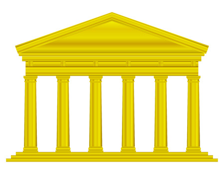 roman empire: Gold tuscan temple isolated on white background.