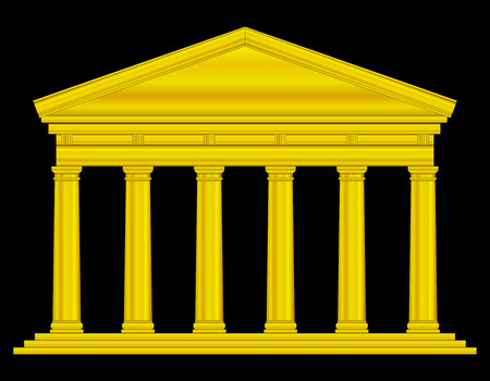 roman empire: Gold tuscan temple isolated on black background.