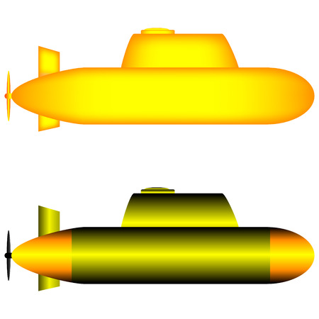 Two yellow submarines isolated on white background. Vector