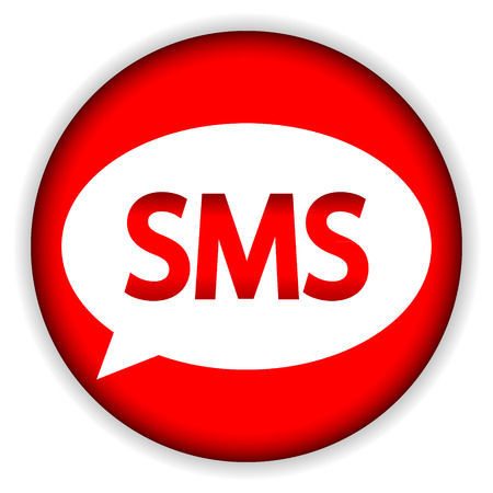 Sms red web icon on white background. Illustration