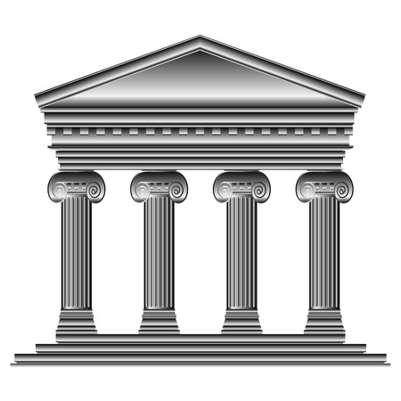 roman empire: Ionic temple isolated on white background.