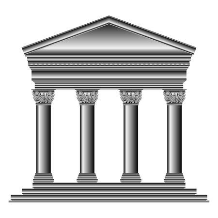 roman empire: Corinthian temple isolated on white background.
