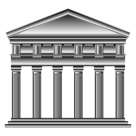 doric: Doric temple isolated on white background. Illustration